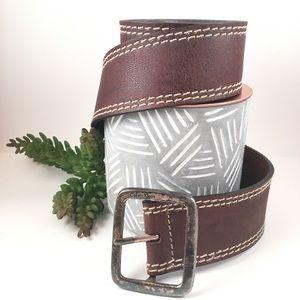 Calvin Klein XL brown leather belt wide buckle